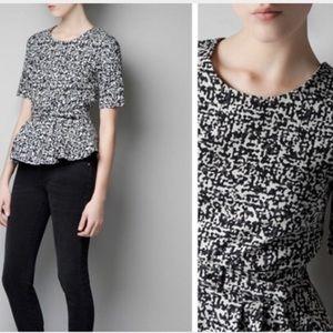 Zara Black and White Peplum Top